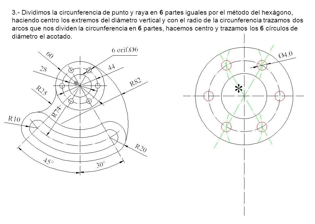 3.- Dividimos la circunferencia de punto y raya en 6 partes iguales por el método del hexágono, haciendo centro los extremos del diámetro vertical y con el radio de la circunferencia trazamos dos arcos que nos dividen la circunferencia en 6 partes, hacemos centro y trazamos los 6 círculos de diámetro el acotado.