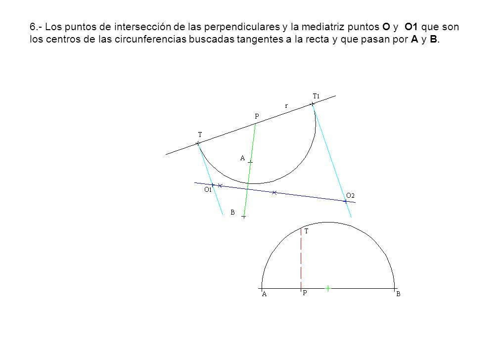 6.- Los puntos de intersección de las perpendiculares y la mediatriz puntos O y O1 que son los centros de las circunferencias buscadas tangentes a la recta y que pasan por A y B.
