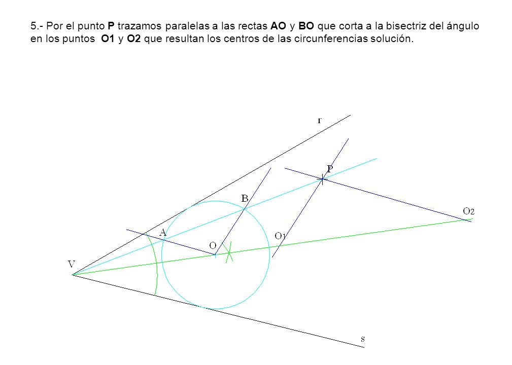 5.- Por el punto P trazamos paralelas a las rectas AO y BO que corta a la bisectriz del ángulo en los puntos O1 y O2 que resultan los centros de las circunferencias solución.