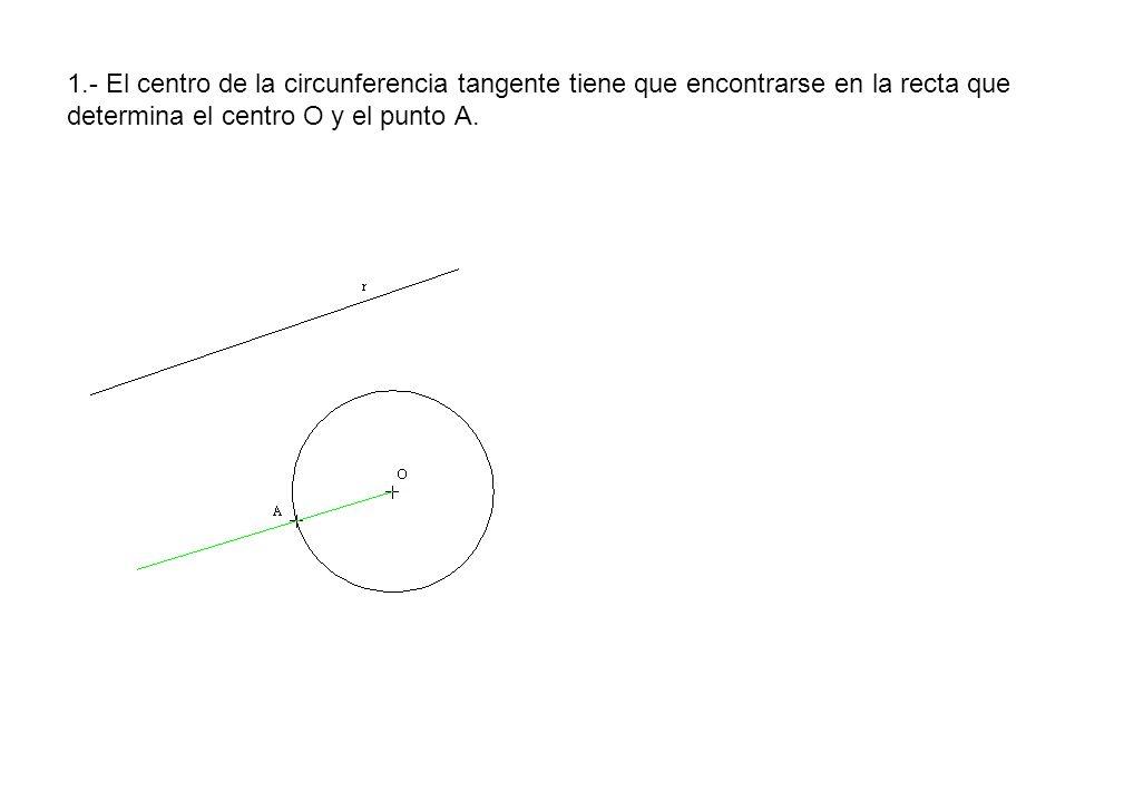 1.- El centro de la circunferencia tangente tiene que encontrarse en la recta que determina el centro O y el punto A.