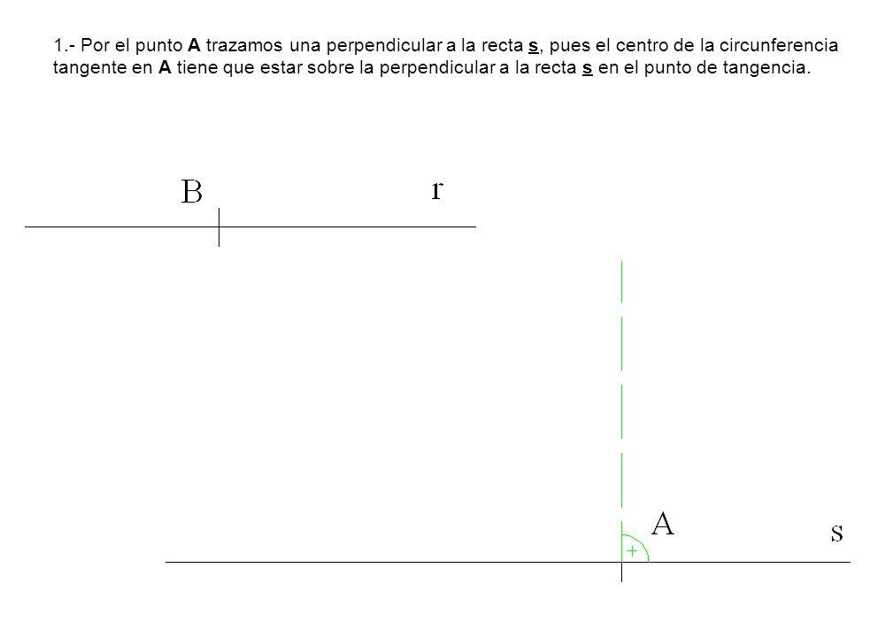 1.- Por el punto A trazamos una perpendicular a la recta s, pues el centro de la circunferencia tangente en A tiene que estar sobre la perpendicular a la recta s en el punto de tangencia.