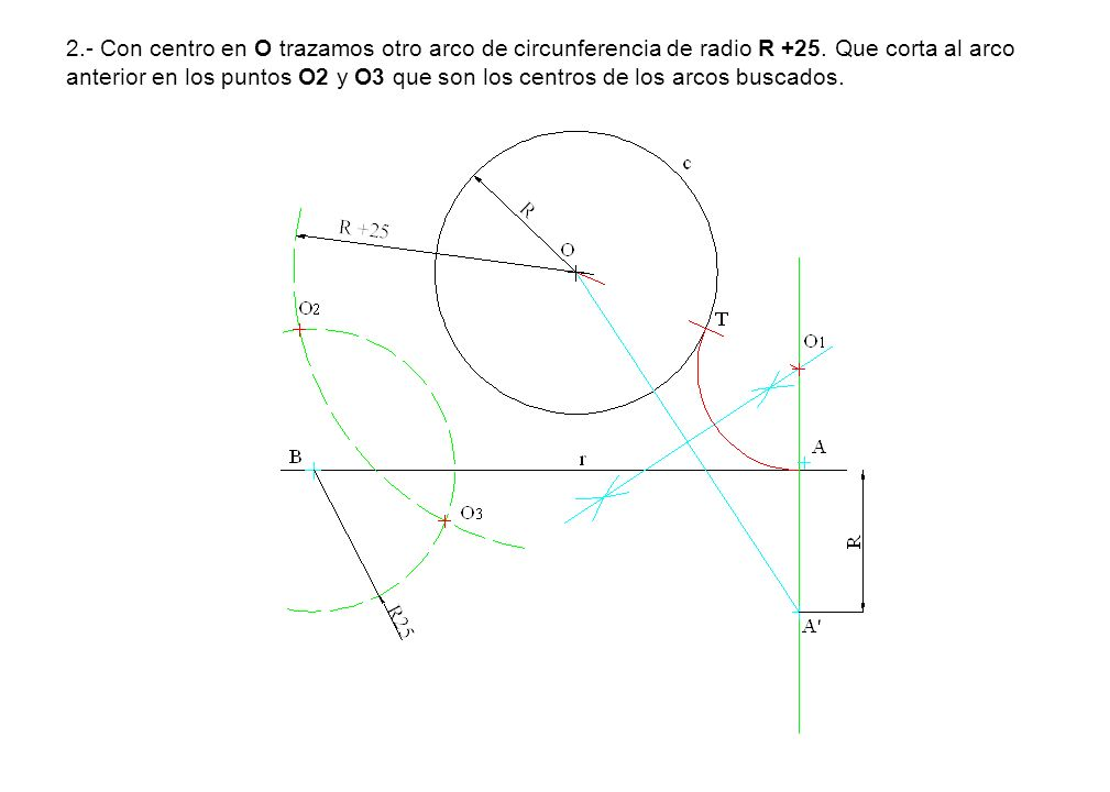 2.- Con centro en O trazamos otro arco de circunferencia de radio R +25.