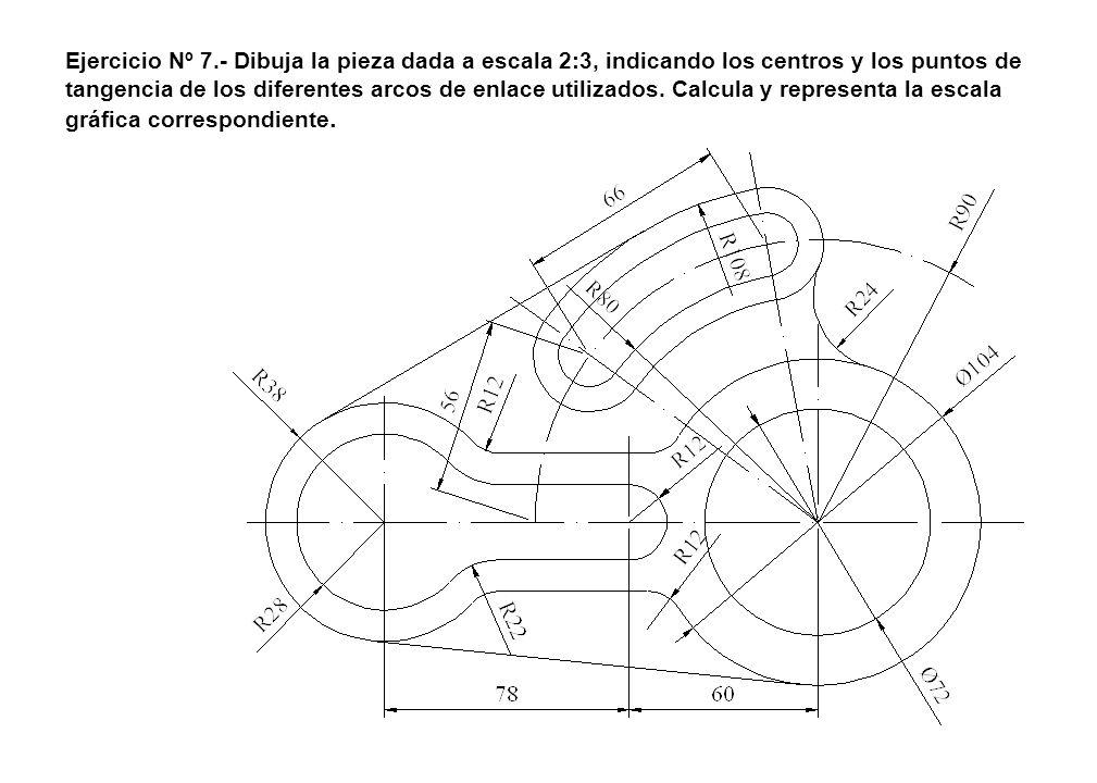 Ejercicio Nº 7.- Dibuja la pieza dada a escala 2:3, indicando los centros y los puntos de tangencia de los diferentes arcos de enlace utilizados.