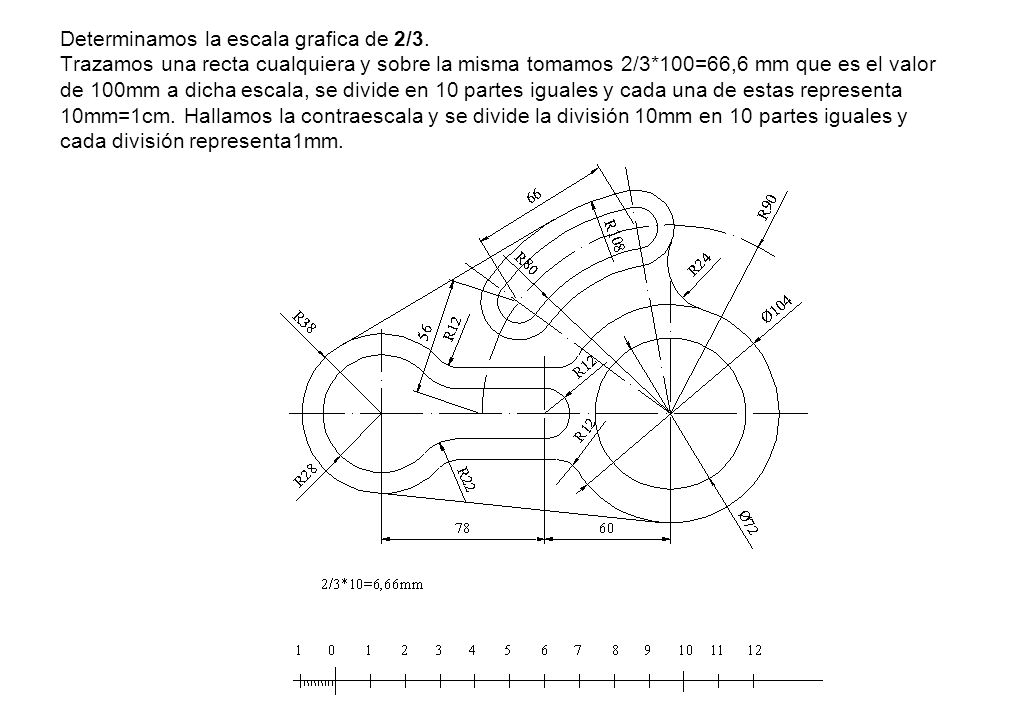 Determinamos la escala grafica de 2/3