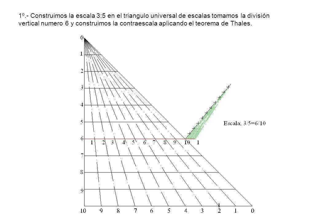 1º.- Construimos la escala 3:5 en el triangulo universal de escalas tomamos la división vertical numero 6 y construimos la contraescala aplicando el teorema de Thales.