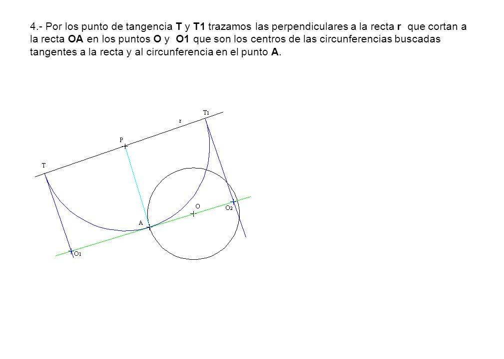 4.- Por los punto de tangencia T y T1 trazamos las perpendiculares a la recta r que cortan a la recta OA en los puntos O y O1 que son los centros de las circunferencias buscadas tangentes a la recta y al circunferencia en el punto A.