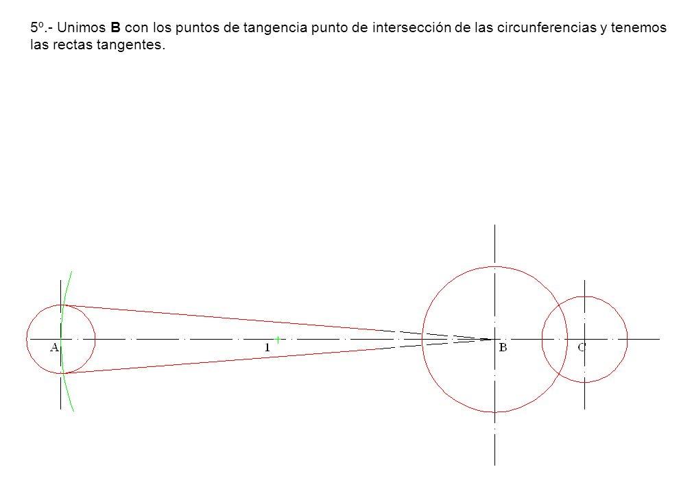 5º.- Unimos B con los puntos de tangencia punto de intersección de las circunferencias y tenemos las rectas tangentes.