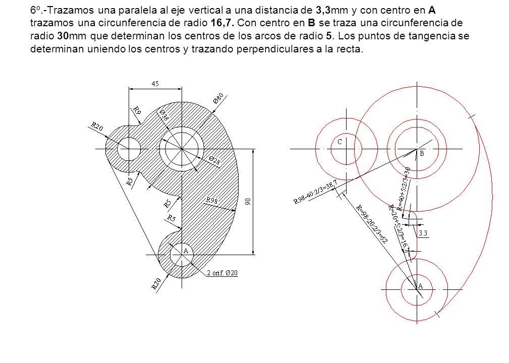 6º.-Trazamos una paralela al eje vertical a una distancia de 3,3mm y con centro en A trazamos una circunferencia de radio 16,7.