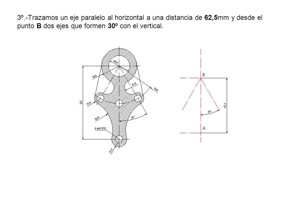 3º.-Trazamos un eje paralelo al horizontal a una distancia de 62,5mm y desde el punto B dos ejes que formen 30º con el vertical.