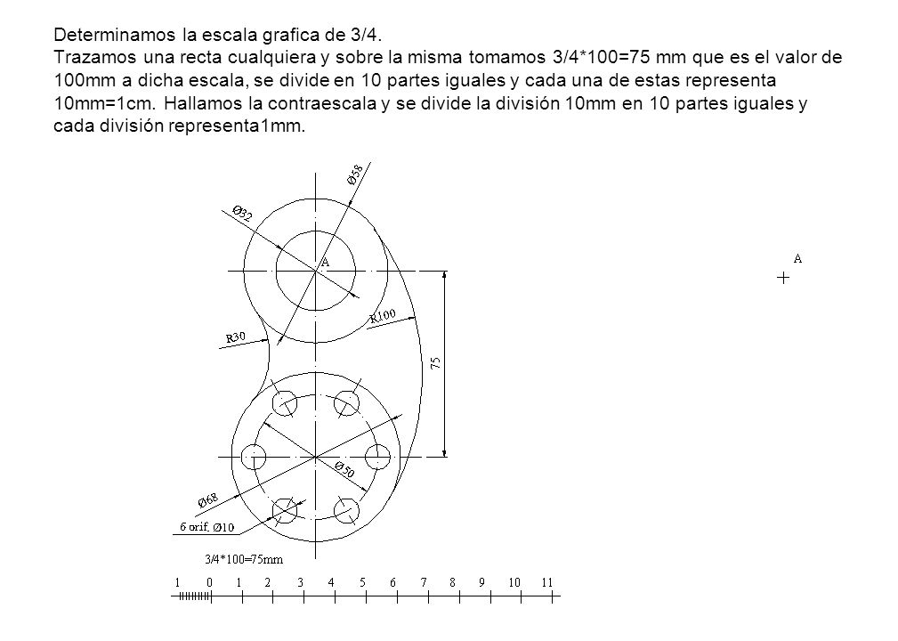 Determinamos la escala grafica de 3/4