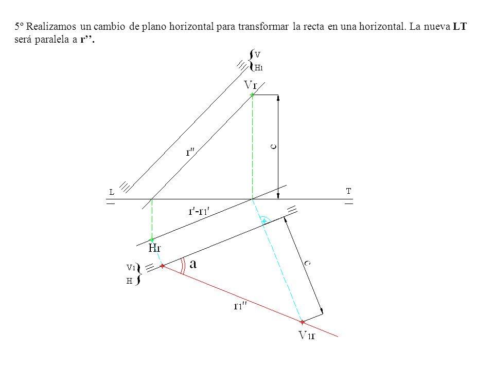 5º Realizamos un cambio de plano horizontal para transformar la recta en una horizontal.