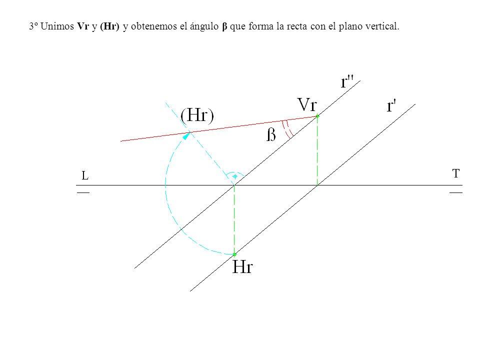 3º Unimos Vr y (Hr) y obtenemos el ángulo β que forma la recta con el plano vertical.