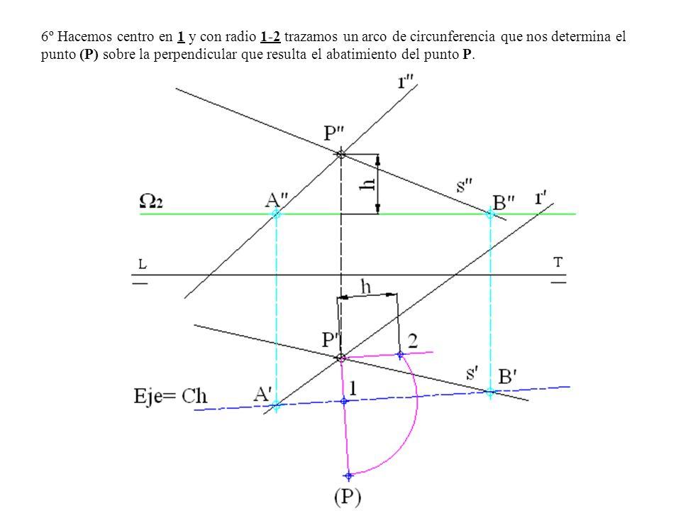 6º Hacemos centro en 1 y con radio 1-2 trazamos un arco de circunferencia que nos determina el punto (P) sobre la perpendicular que resulta el abatimiento del punto P.