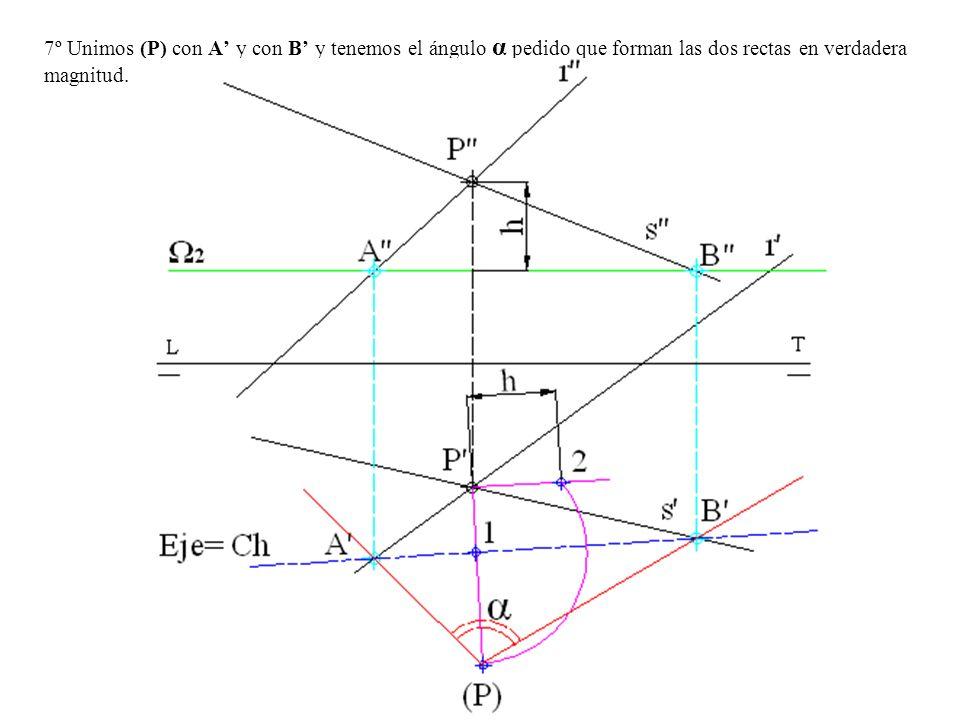 7º Unimos (P) con A' y con B' y tenemos el ángulo α pedido que forman las dos rectas en verdadera magnitud.