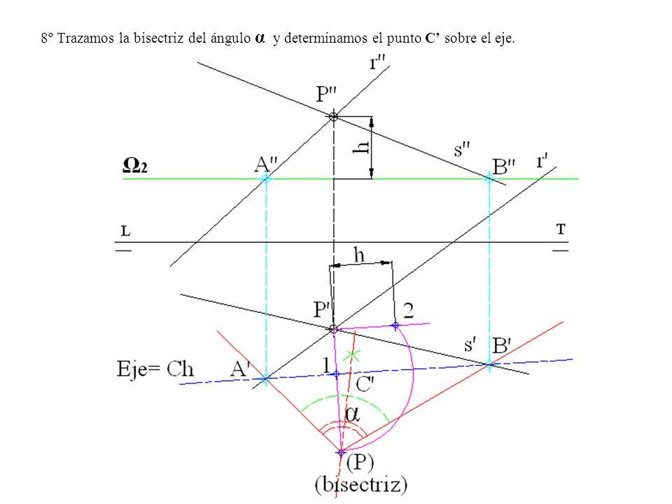 8º Trazamos la bisectriz del ángulo α y determinamos el punto C' sobre el eje.