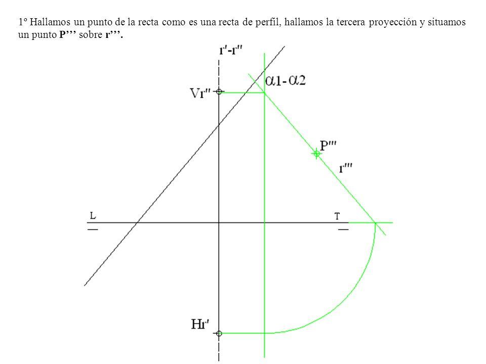1º Hallamos un punto de la recta como es una recta de perfil, hallamos la tercera proyección y situamos un punto P''' sobre r'''.