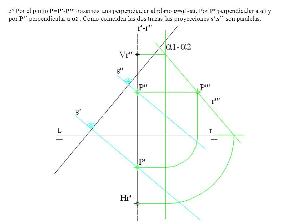 3º Por el punto P=P'-P'' trazamos una perpendicular al plano α=α1-α2