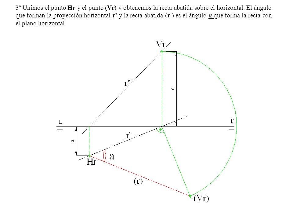 3º Unimos el punto Hr y el punto (Vr) y obtenemos la recta abatida sobre el horizontal.