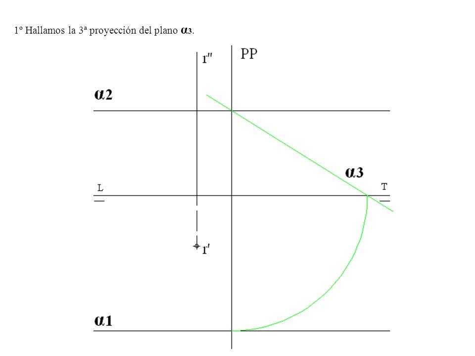 1º Hallamos la 3ª proyección del plano α3.