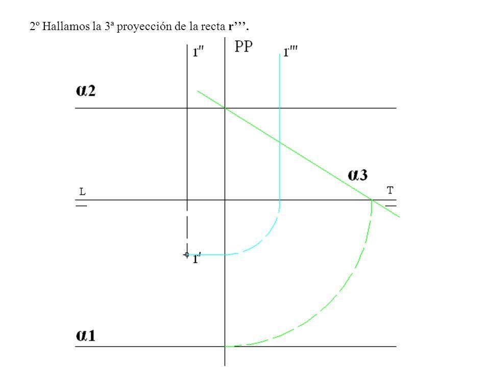 2º Hallamos la 3ª proyección de la recta r'''.