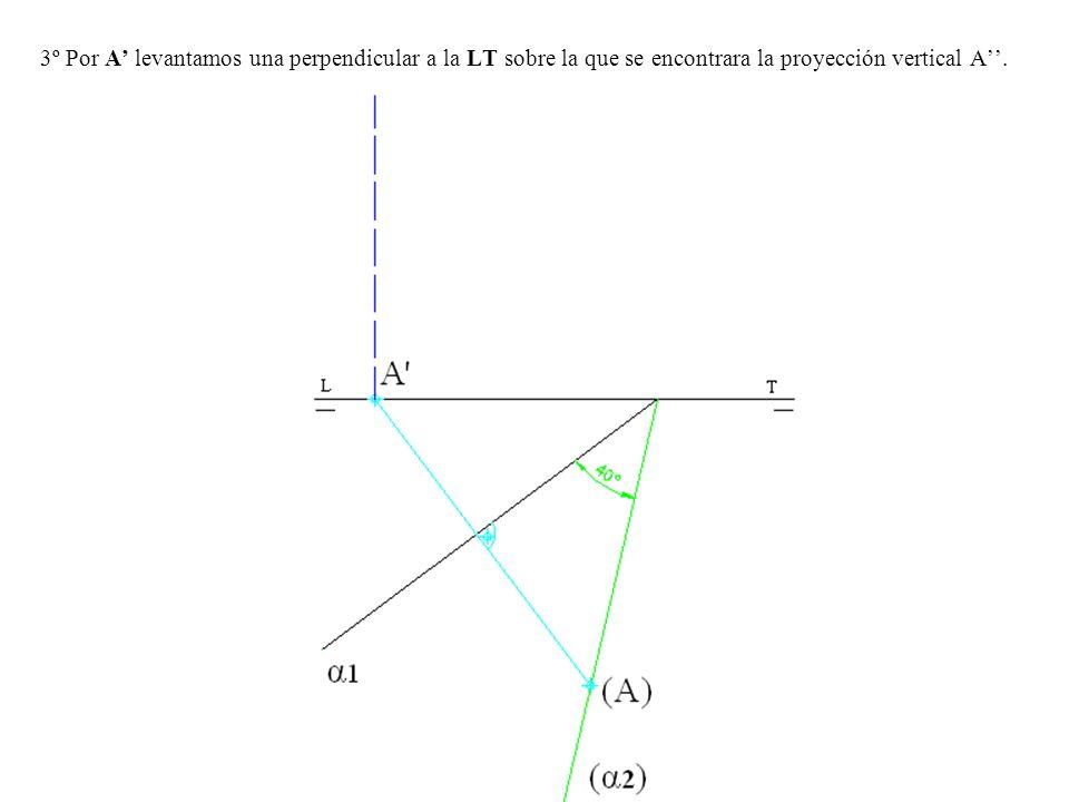 3º Por A' levantamos una perpendicular a la LT sobre la que se encontrara la proyección vertical A''.