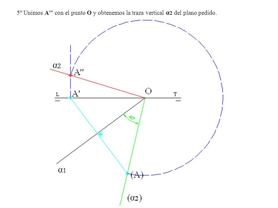 5º Unimos A'' con el punto O y obtenemos la traza vertical α2 del plano pedido.
