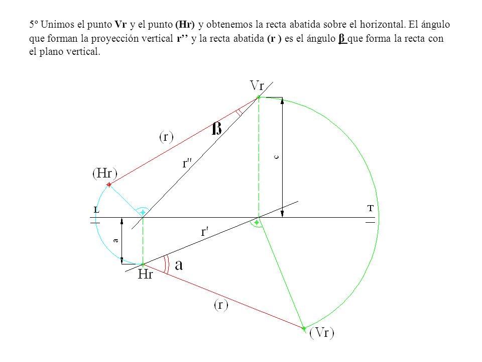 5º Unimos el punto Vr y el punto (Hr) y obtenemos la recta abatida sobre el horizontal.