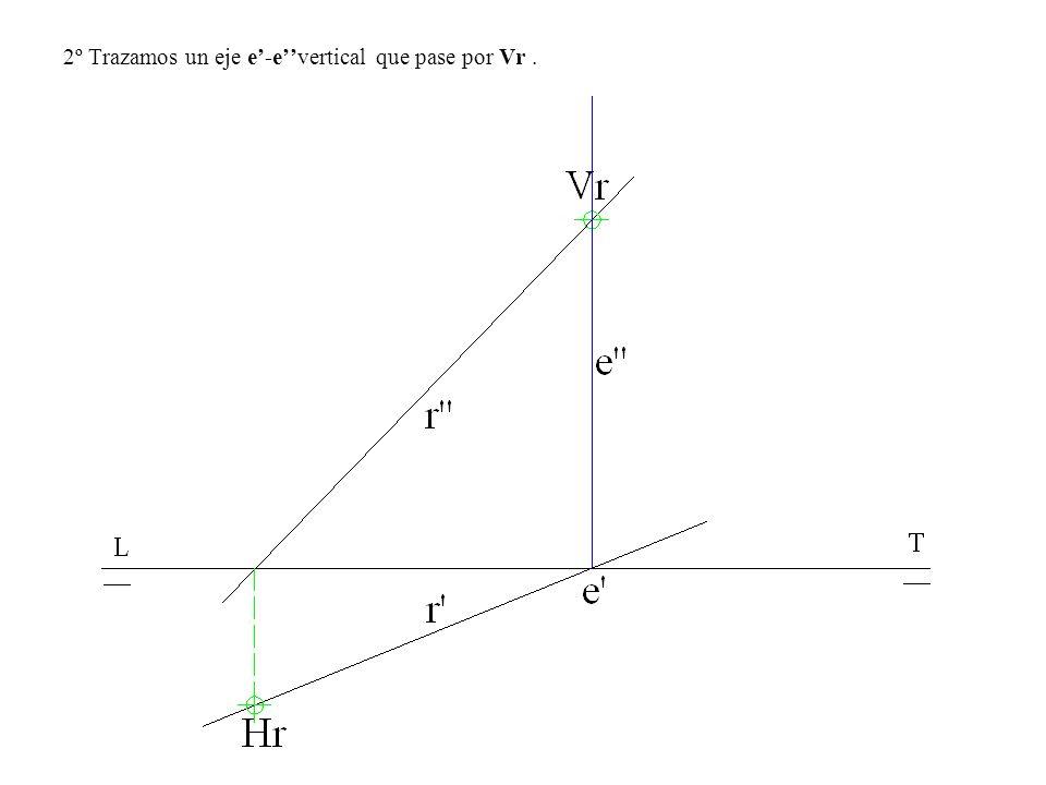 2º Trazamos un eje e'-e''vertical que pase por Vr .