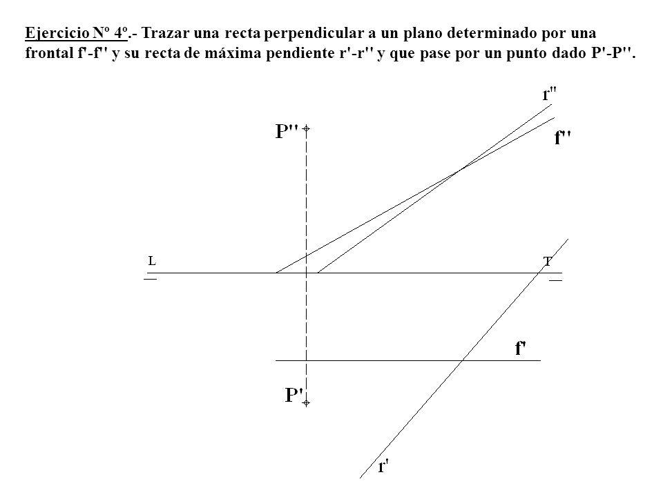 Ejercicio Nº 4º.- Trazar una recta perpendicular a un plano determinado por una frontal f -f y su recta de máxima pendiente r -r y que pase por un punto dado P -P .