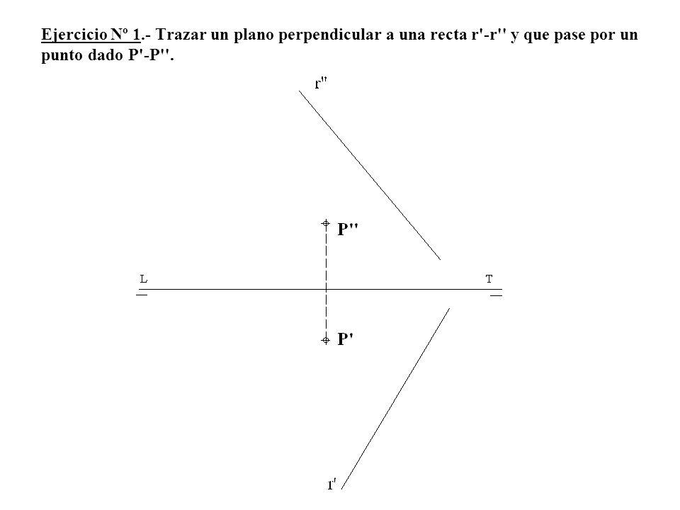 Ejercicio Nº 1.- Trazar un plano perpendicular a una recta r -r y que pase por un punto dado P -P .