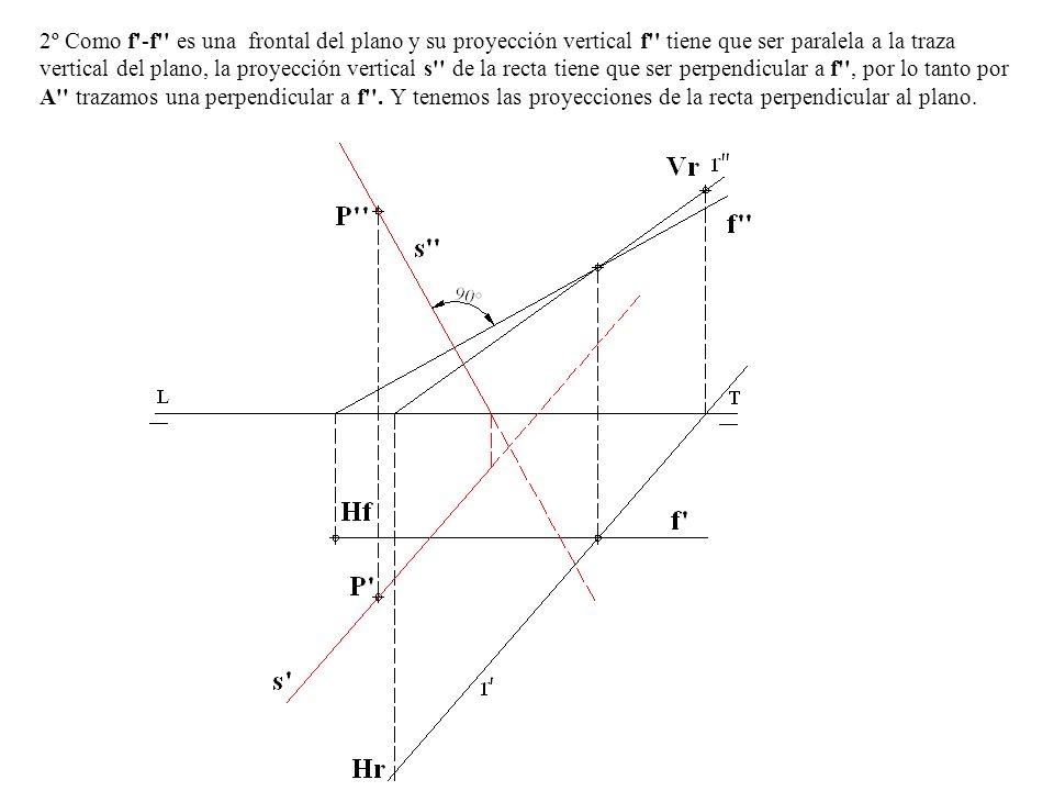 2º Como f -f es una frontal del plano y su proyección vertical f tiene que ser paralela a la traza vertical del plano, la proyección vertical s de la recta tiene que ser perpendicular a f , por lo tanto por A trazamos una perpendicular a f .