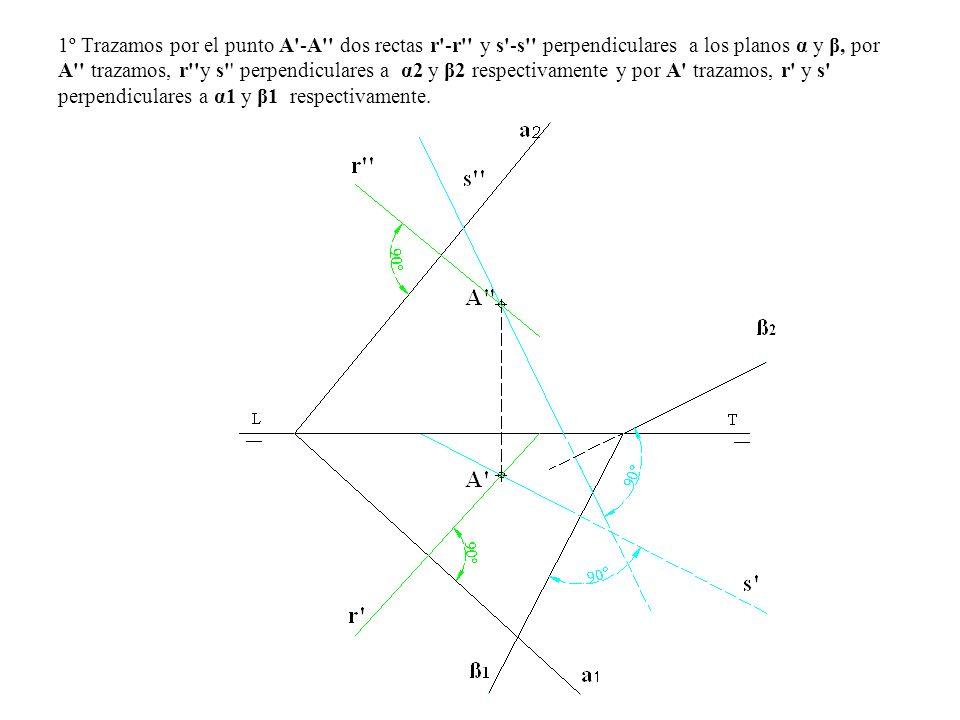 1º Trazamos por el punto A -A dos rectas r -r y s -s perpendiculares a los planos α y β, por A trazamos, r y s perpendiculares a α2 y β2 respectivamente y por A trazamos, r y s perpendiculares a α1 y β1 respectivamente.