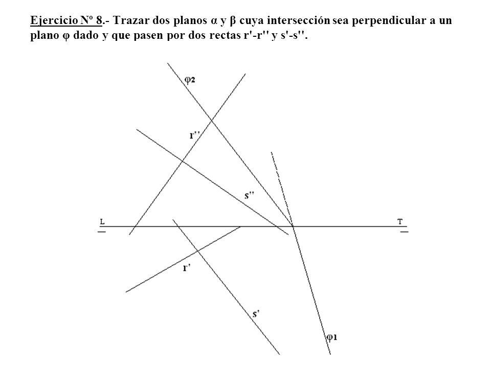 Ejercicio Nº 8.- Trazar dos planos α y β cuya intersección sea perpendicular a un plano φ dado y que pasen por dos rectas r -r y s -s .
