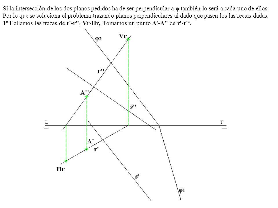 Si la intersección de los dos planos pedidos ha de ser perpendicular a φ también lo será a cada uno de ellos.