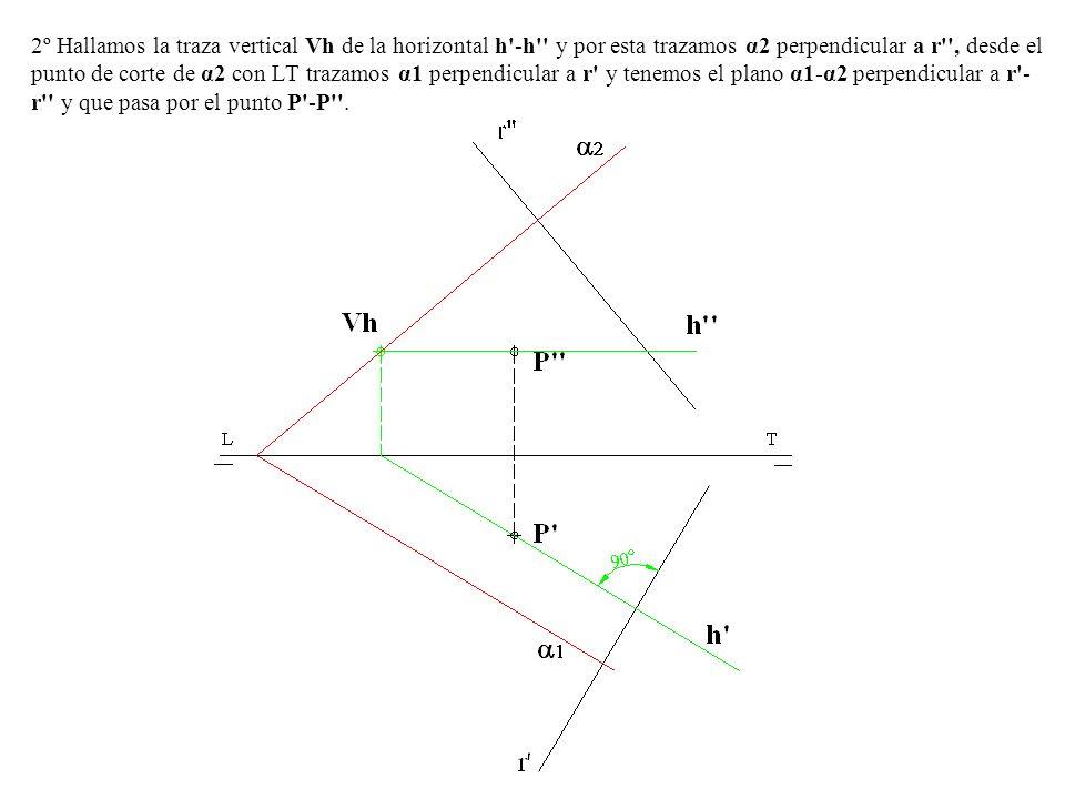 2º Hallamos la traza vertical Vh de la horizontal h -h y por esta trazamos α2 perpendicular a r , desde el punto de corte de α2 con LT trazamos α1 perpendicular a r y tenemos el plano α1-α2 perpendicular a r -r y que pasa por el punto P -P .
