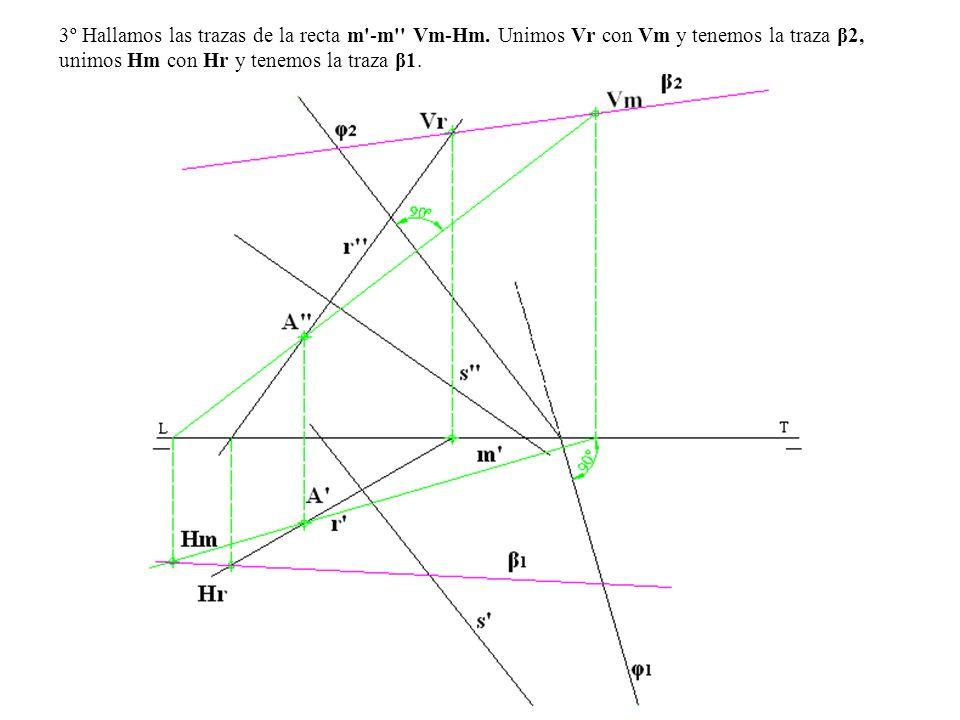 3º Hallamos las trazas de la recta m -m Vm-Hm