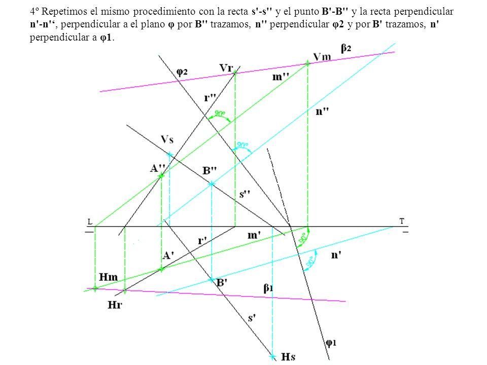 4º Repetimos el mismo procedimiento con la recta s -s y el punto B -B y la recta perpendicular n -n ', perpendicular a el plano φ por B trazamos, n perpendicular φ2 y por B trazamos, n perpendicular a φ1.