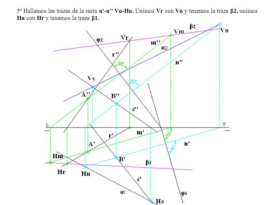 5º Hallamos las trazas de la recta n -n Vn-Hn