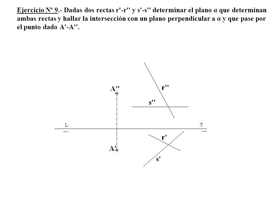Ejercicio Nº 9.- Dadas dos rectas r -r y s -s determinar el plano α que determinan ambas rectas y hallar la intersección con un plano perpendicular a α y que pase por el punto dado A -A .