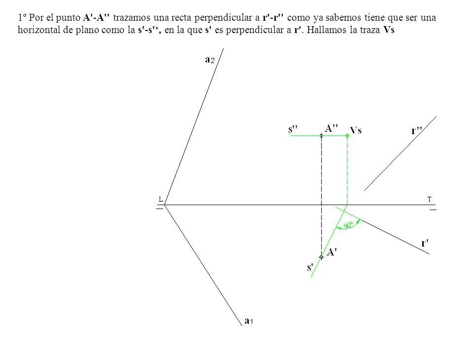 1º Por el punto A -A trazamos una recta perpendicular a r -r como ya sabemos tiene que ser una horizontal de plano como la s -s ', en la que s es perpendicular a r .