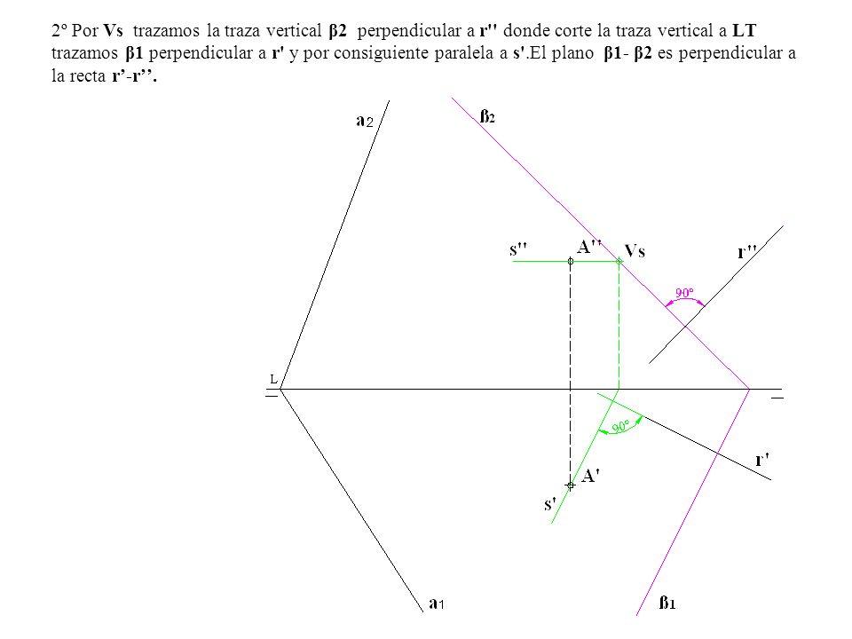 2º Por Vs trazamos la traza vertical β2 perpendicular a r donde corte la traza vertical a LT trazamos β1 perpendicular a r y por consiguiente paralela a s .El plano β1- β2 es perpendicular a la recta r'-r''.