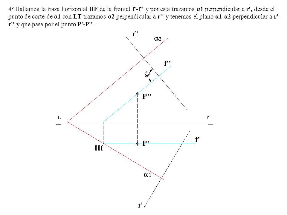 4º Hallamos la traza horizontal HF de la frontal f -f y por esta trazamos α1 perpendicular a r , desde el punto de corte de α1 con LT trazamos α2 perpendicular a r y tenemos el plano α1-α2 perpendicular a r -r y que pasa por el punto P -P .