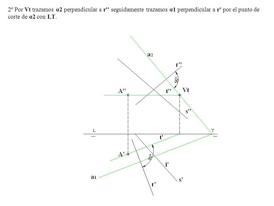 2º Por Vt trazamos α2 perpendicular a r seguidamente trazamos α1 perpendicular a r por el punto de corte de α2 con LT.