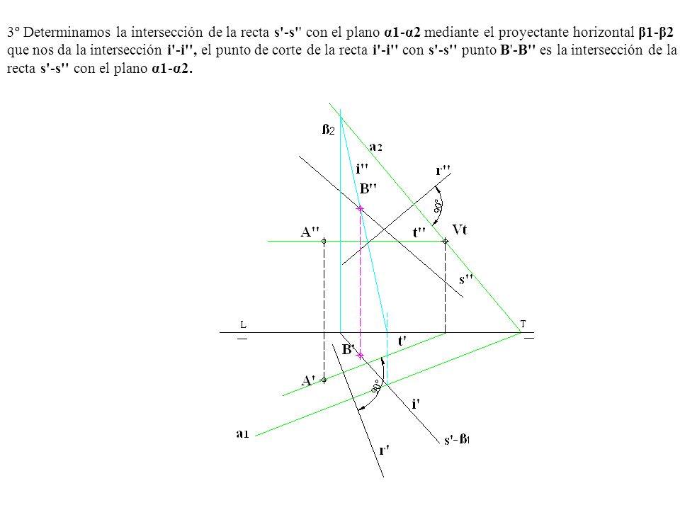 3º Determinamos la intersección de la recta s -s con el plano α1-α2 mediante el proyectante horizontal β1-β2 que nos da la intersección i -i , el punto de corte de la recta i -i con s -s punto B -B es la intersección de la recta s -s con el plano α1-α2.