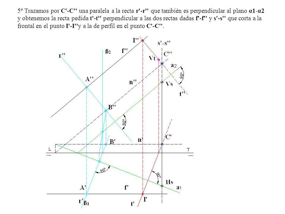 5º Trazamos por C -C una paralela a la recta r -r que también es perpendicular al plano α1-α2 y obtenemos la recta pedida t -t perpendicular a las dos rectas dadas f -f y s -s que corta a la frontal en el punto I -I y a la de perfil en el punto C -C .