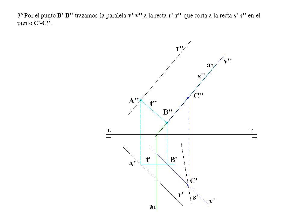 3º Por el punto B -B trazamos la paralela v -v a la recta r -r que corta a la recta s -s en el punto C -C .
