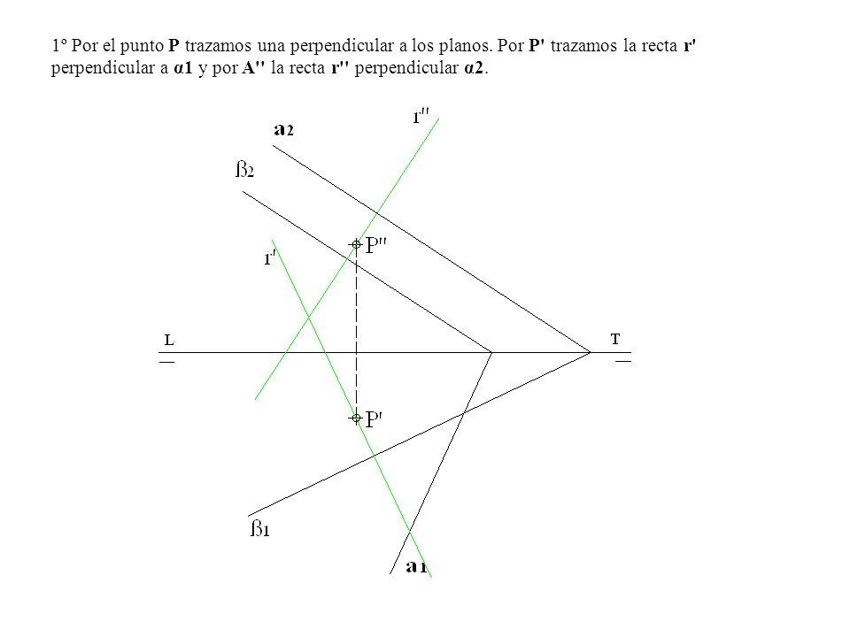 1º Por el punto P trazamos una perpendicular a los planos