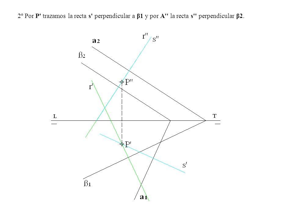 2º Por P trazamos la recta s perpendicular a β1 y por A la recta s perpendicular β2.