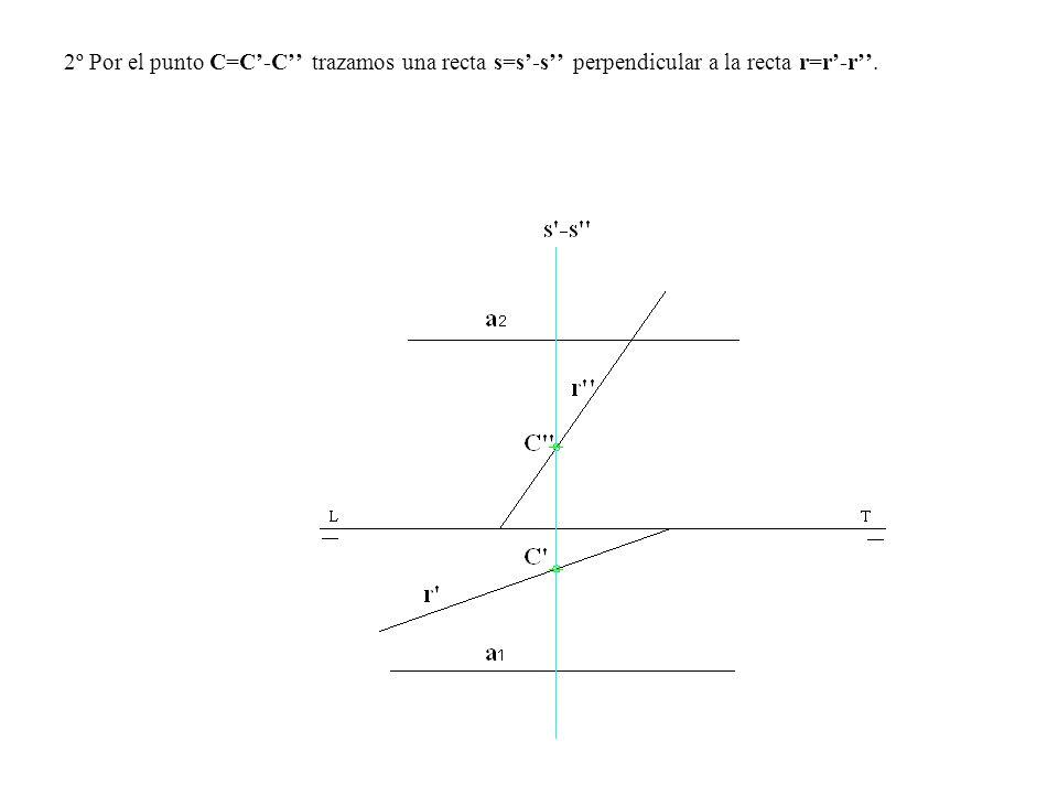 2º Por el punto C=C'-C'' trazamos una recta s=s'-s'' perpendicular a la recta r=r'-r''.