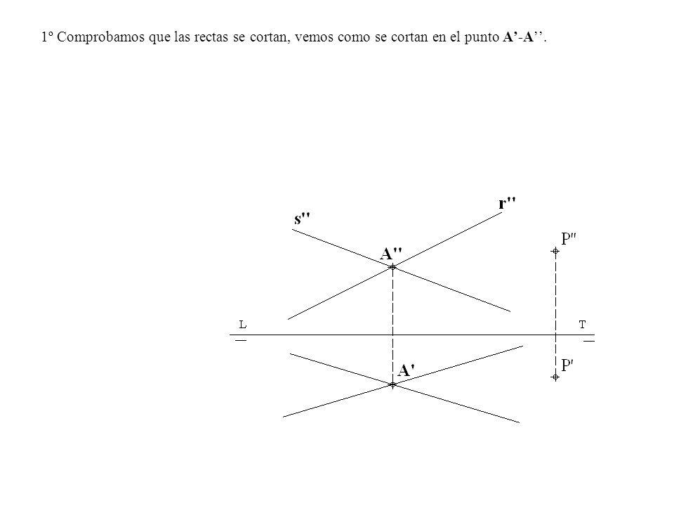 1º Comprobamos que las rectas se cortan, vemos como se cortan en el punto A'-A''.